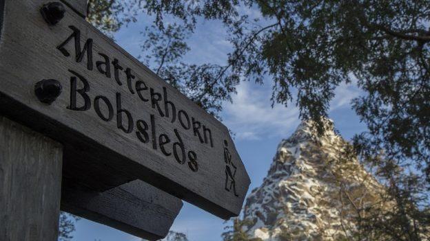 Matterhorn Bobsleds wooden sign, Disneyland park