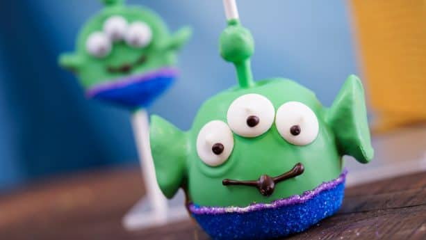 Alien Apple and Cake Pop for Pixar Fest at Disneyland Resort