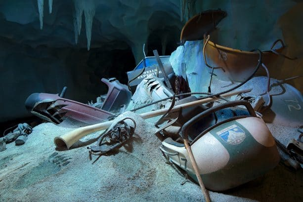 bobsleds, and other snow gear shown inside Matterhorn, Disneyland park