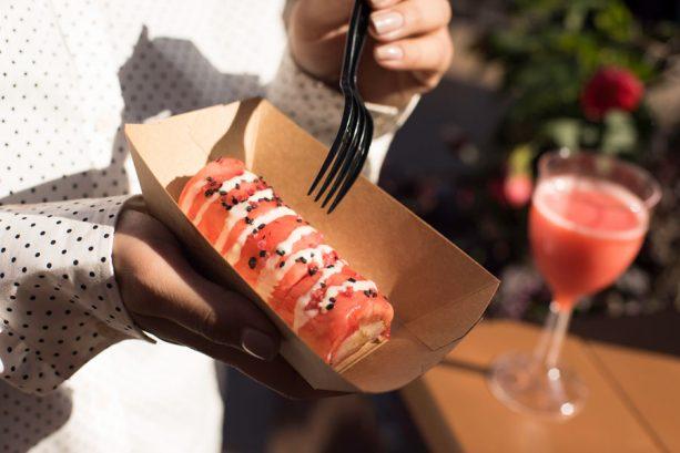 "Disney California Adventure Food & Wine Festival - Strawberry & Coconut Rice ""Frushi"" with Sweet Oikos Greek Nonfat Yogurt Wasabi Sauce"