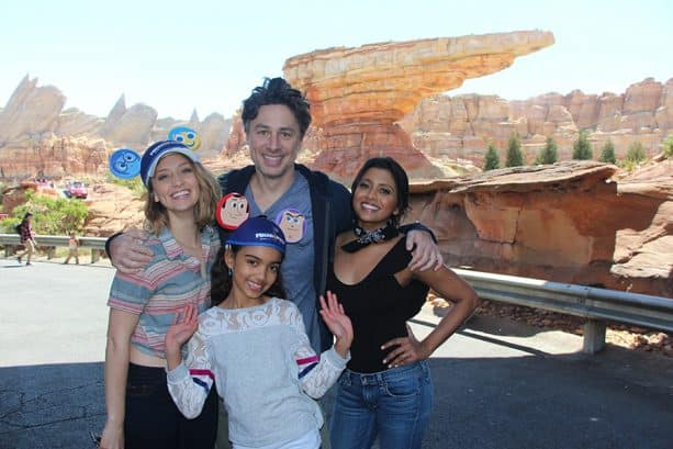 Actor and filmmaker Zach Braff and some of the cast of ABC's Alex, Inc. visit the Disneyland Resort