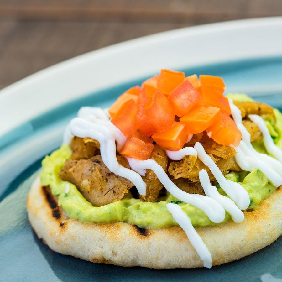 Disney California Adventure Food & Wine Festival - Spiced Oumph on Pita with Avocado Hummus and Garlic Sauce