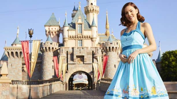 Girl in Disney Dress at Sleeping Beauty Castle