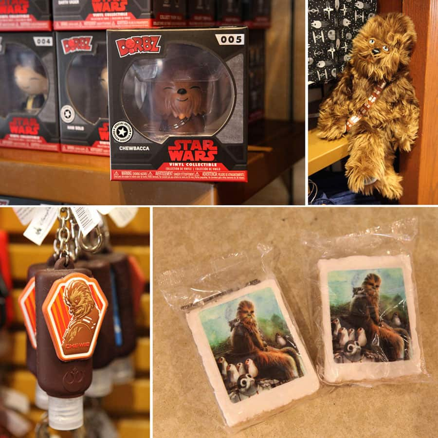 Assorted Chewbacca merchandise