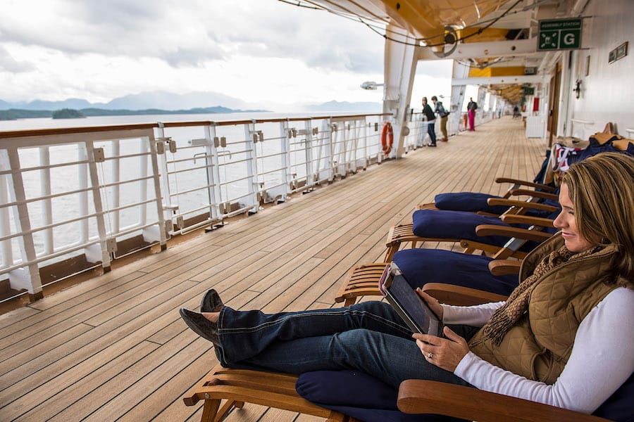 Guest Relaxing on the Disney Wonder in Alaska