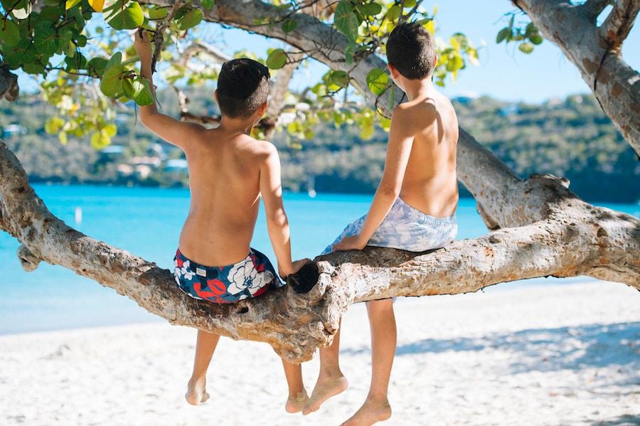 Kids Enjoying a Beach in the Caribbean