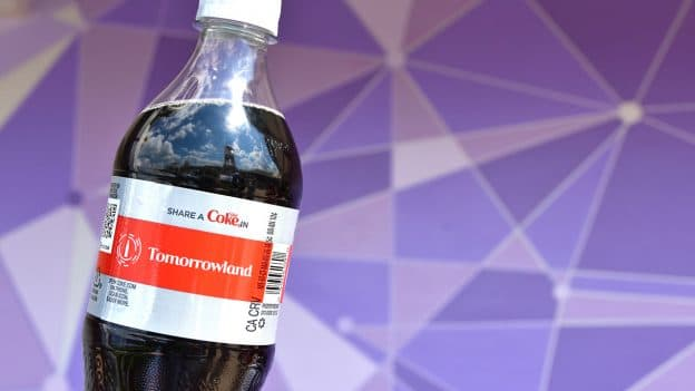 Diet Coke bottle, Tomorrowland label, Disney Parks