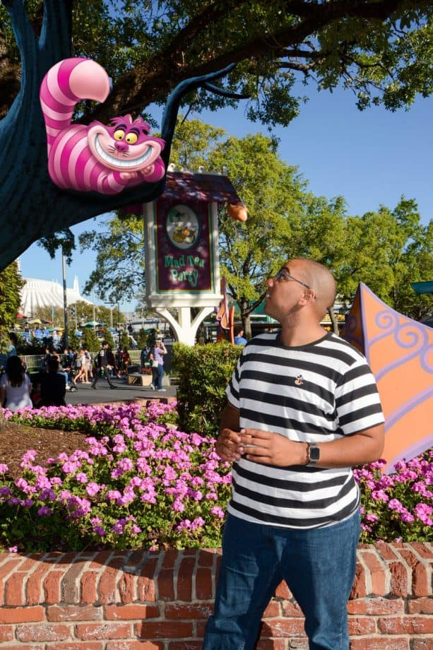 New Disney PhotoPass Magic Shot near Mad Tea Party at Magic Kingdom Park and in the United Kingdom Pavilion at Epcot