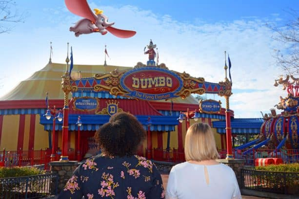 New Disney PhotoPass Magic Shot near Dumbo the Flying Elephant at Magic Kingdom Park