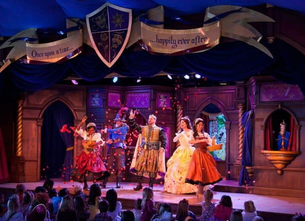 "Enjoy storytelling from ""Beauty and the Beast"" and ""Tangled"" at the Royal Theatre in Disneyland park"