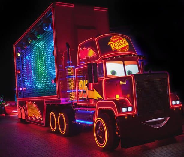 Cars characters, Paint the Night, Disney California Adventure park