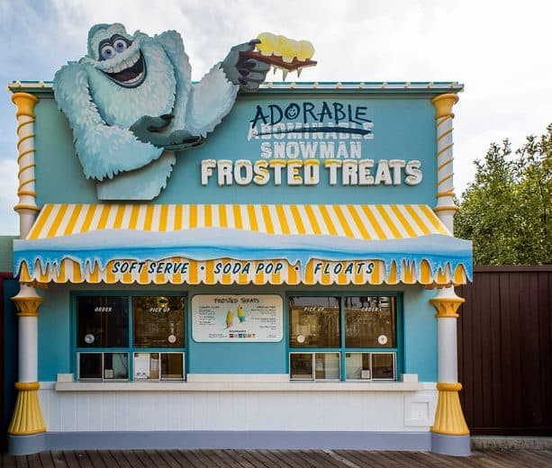 Adorable Snowman Frosted Treats in Pixar Pier at Disney California Adventure park