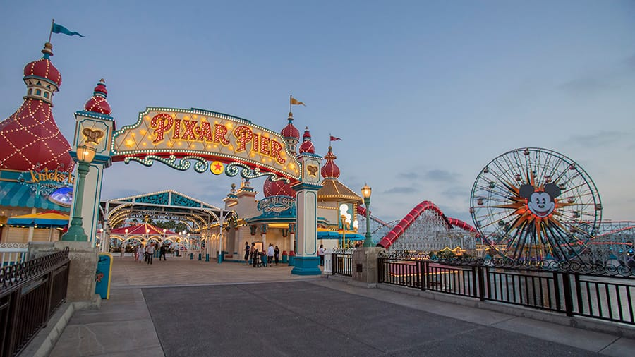 Pixar Pier at night at Disney California Adventure park