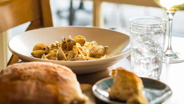 Bucatini with Clams at Terralina Crafted Italian at Disney Springs