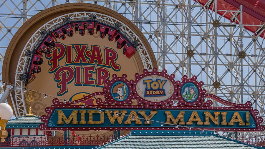 Toy Story Mania at Pier Pixar at Disney California Adventure park