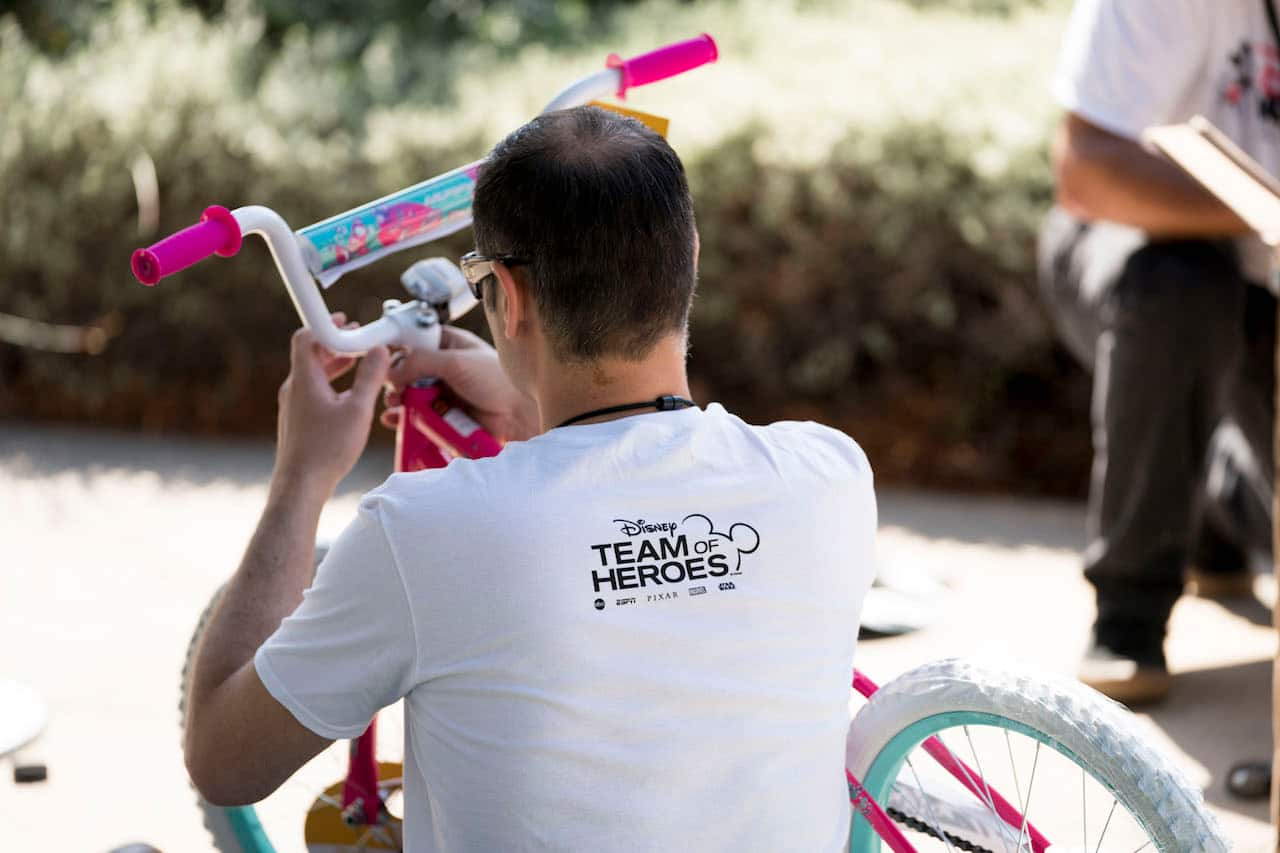 Walt Disney Imagineers worked together to assemble bikes for foster care kids