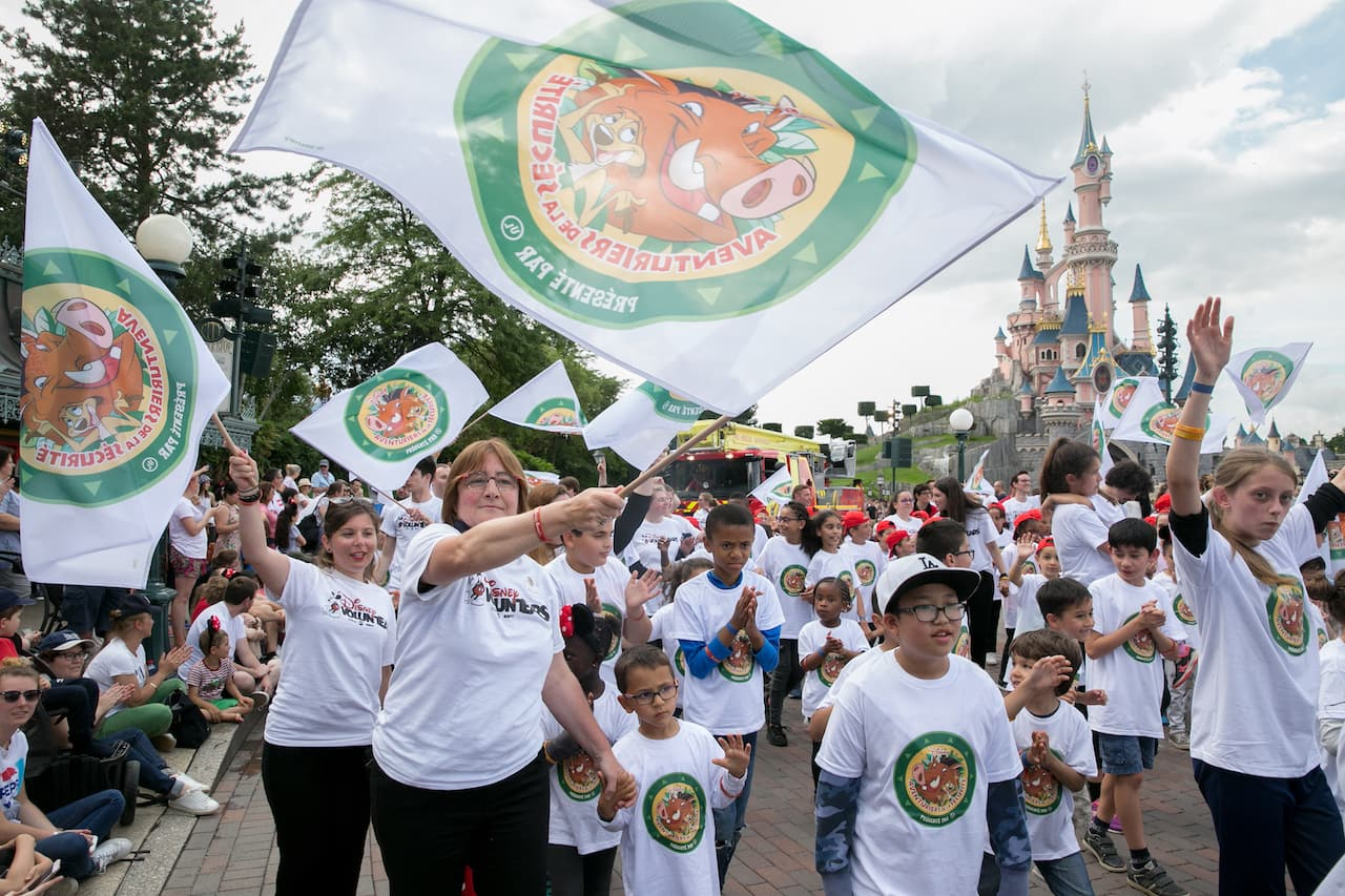 Children were invited to participate in 'Wild about Safety' parade at Disneyland Paris