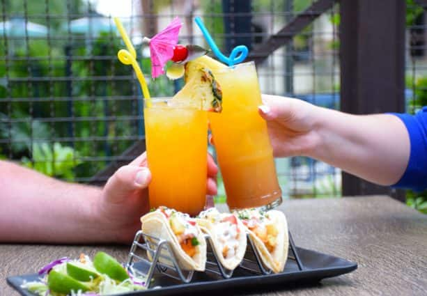Refreshing beverages and Shrimp Tacos at the Disneyland Hotel Pool Bar