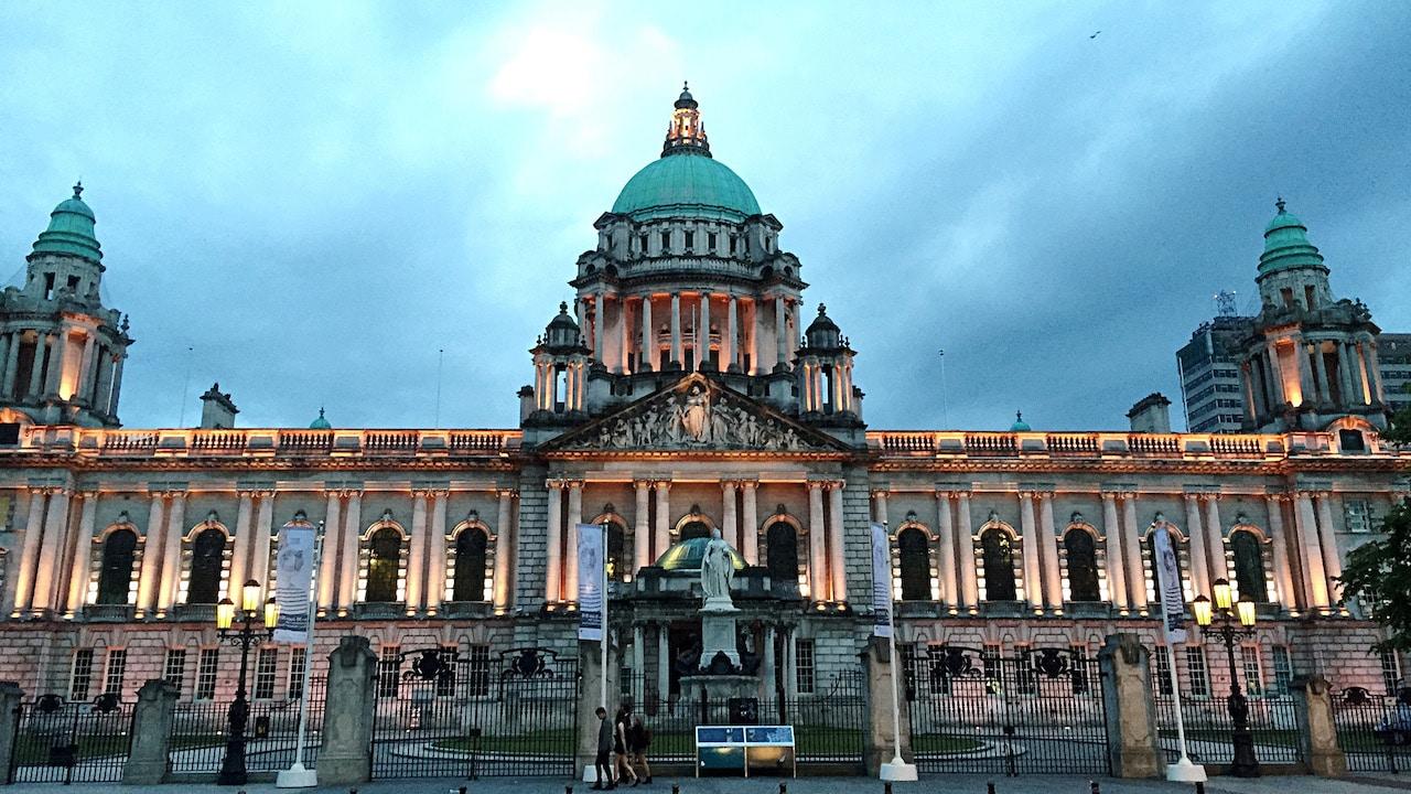 Illuminated Belfast City Hall Against Sky