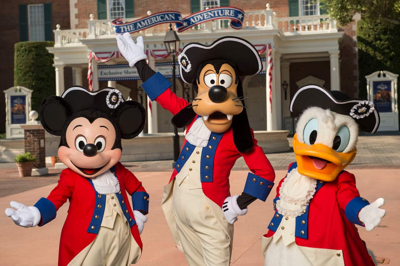 Mickey, Goofy and Donald at American Adventure Pavilion