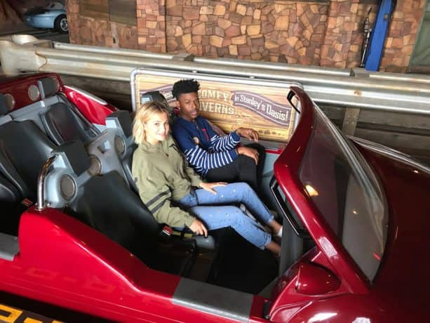 Freeform's 'Marvel's Cloak & Dagger' Stars Olivia Holt and Aubrey Joseph ride Radiator Springs Racers in Cars Land