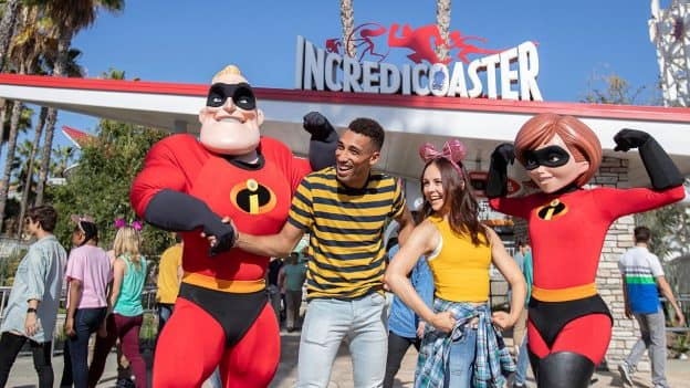 The Incredibles interacting with Guests at Pixar Pier, now open at Disney California Adventure park
