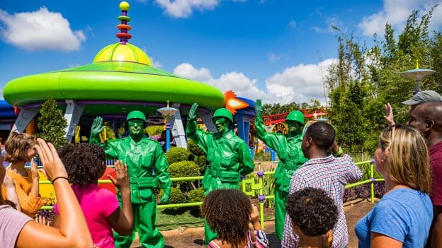 Green Army Patrol outside of Toy Story Land