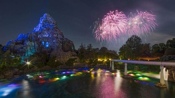 Fireworks from 'Together Forever – A Pixar Nighttime Spectacular', at Disneyland Park
