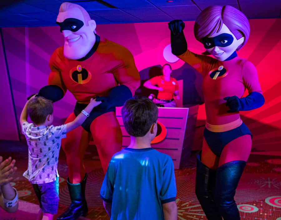 Dance party with Mr. and Mrs. Incredible in Pixar Play Zone at Disney's Contemporary Resort