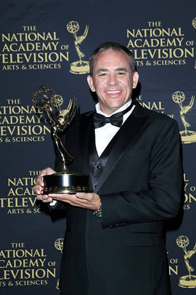 Jeff Thatcher and Jay Lee accept their award at the Daytime Emmy Awards