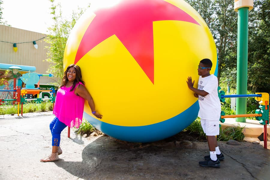 Sherri Shepherd and her son Jeffrey in Toy Story Land at Disney's Hollywood Studios