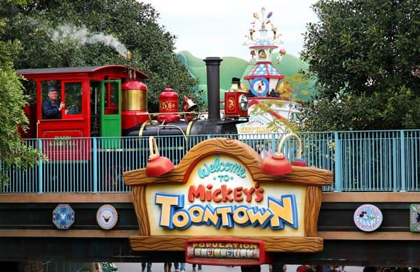 Disneyland Railroad passing though Mickeys Toontown