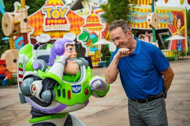 Tim Allen with Buzz Lightyear in Toy Story Land at Disney's Hollywood Studios