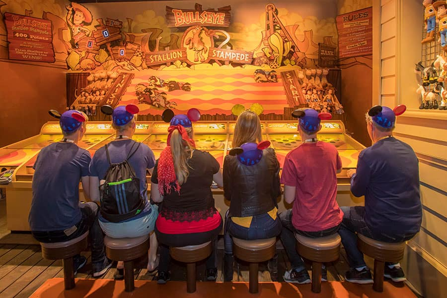 Disney Parks Blog fans playing Bullseye's Stallion Stampede at Pixar Pier, Disney California Adventure park
