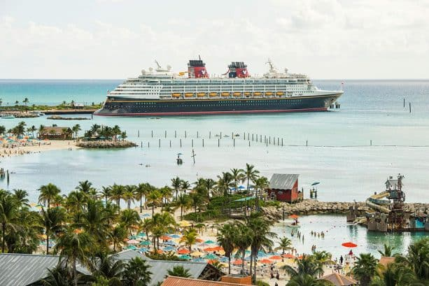 Disney Cruise Line ship visiting Castaway Cay and Walt Disney World Resort