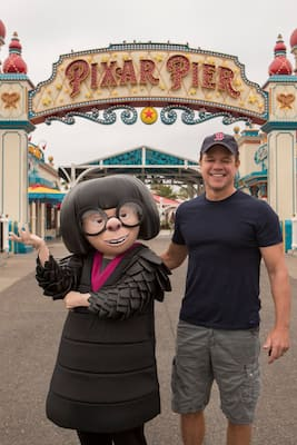 Actor Matt Damon meets Edna Mode at Pixar Pier in Disney California Adventure Park
