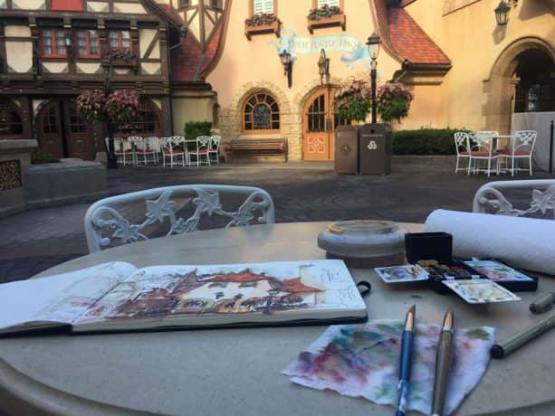 Sketches from the Park: Germany Pavilion at Epcot