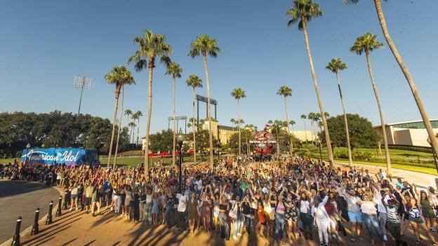 """American Idol"" contestants converge Aug. 25, 2018, at the bus tour auditions kickoff at Walt Disney World Resort in Lake Buena Vista, Fla."