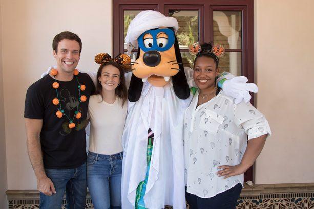 Goofy sporting his Halloween costume along Buena Vista Street at Disney California Adventure park