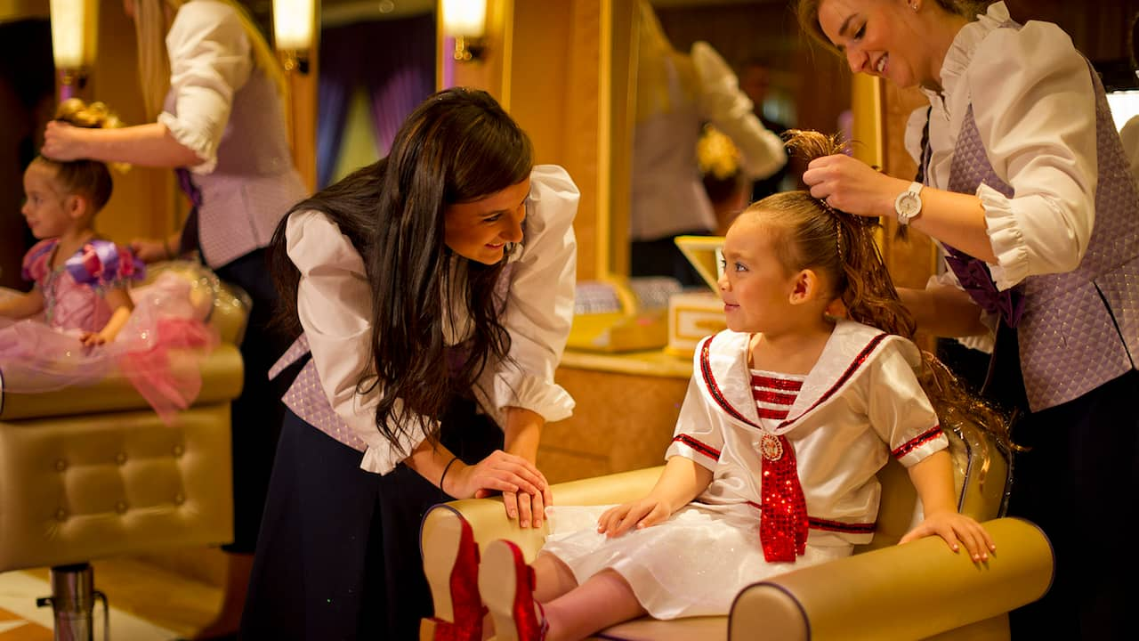 Aspiring young princesses receive the full fairy tale treatment at Bibbidi Bobbidi Boutique on the Disney Fantasy