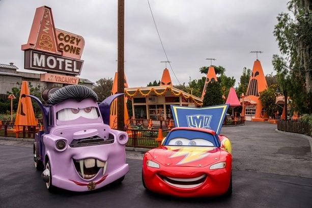 Mater and Lighting McQueen at Radiator Screams in Cars Land at Disney California Adventure park