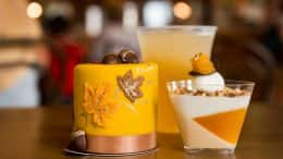 Caramel Apricot Cobbler, Fall Harbest Petit Cake, and Apple Cider Riesling Wine Slushie at Amorette's Patisserie for WonderFall Flavors at Disney Springs