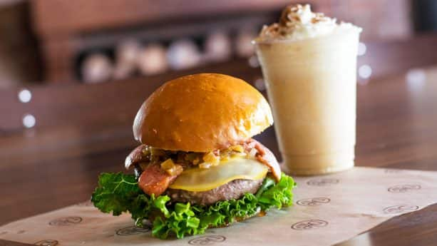 Smoked Sausage Burger and Pumpkin Shake at D-Luxe Burger for WonderFall Flavors at Disney Springs