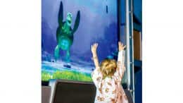 "Interactive ""Turtle Talk"" show in the lobby of CHOC Children's in Orange County, California"