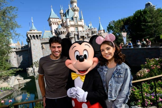 "Joe ""Grocery Store Joe"" Amabile and his 'Dancing With the Stars' partner, Jenna Johnson with Mickey Mouse at Disneyland park"