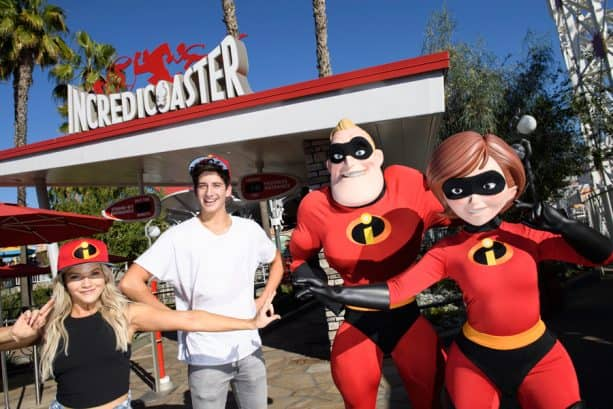 Milo Mannheim and his 'Dancing With the Stars' partner Witney Carson with Mr. and Mrs. Incredible at Disney California Adventure park