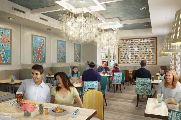 Sebastian's Bistro Dining Room Rendering at Disney's Caribbean Beach Resort