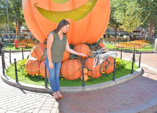 Magic Shot featuring Zero at the giant pumpkin on Main Street, U.S.A. in Disneyland park