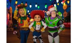 Woody, Jessie and Buzz Lightyear dressed up for the holidays in Toy Story Land