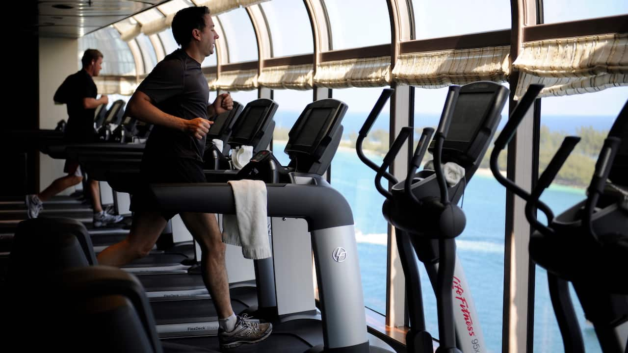 Adults Working out on the Disney Dream